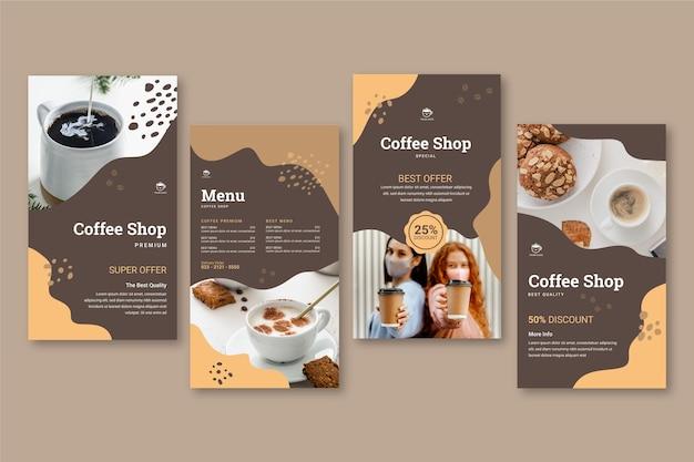 Collection d'histoires instagram de café