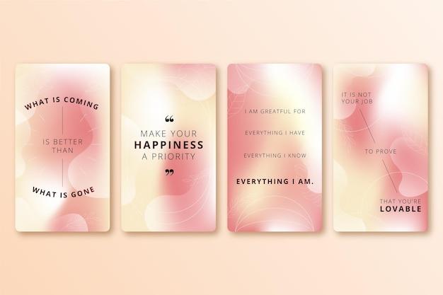 Collection d'histoires instagram citations inspirantes dégradées