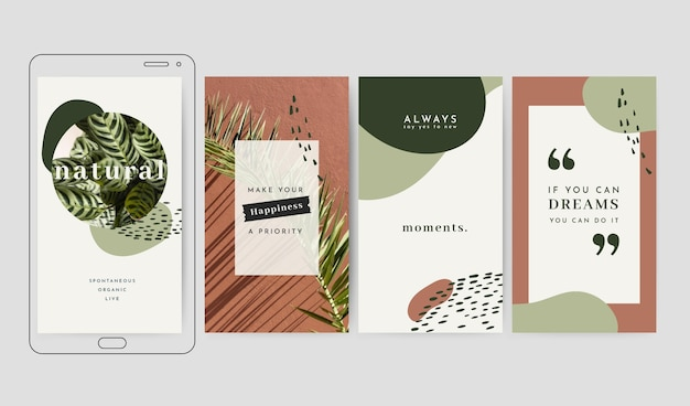 Collection d'histoires instagram citations inspirantes dessinées à la main