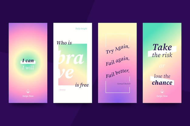 Collection d'histoires instagram de citations inspirantes plates organiques