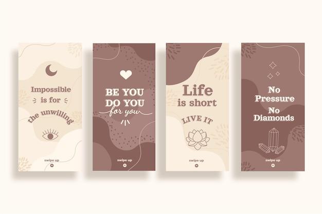 Collection d'histoires instagram de citations inspirantes plates