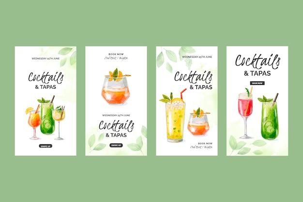 Collection d'histoires instagram de cocktails à l'aquarelle