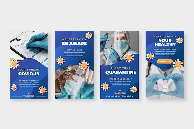 Collection d'histoires instagram de coronavirus dégradé