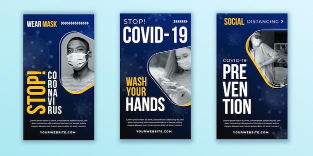 Collection d'histoires instagram de coronavirus design plat