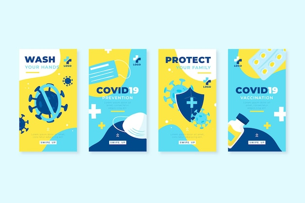 Collection d'histoires instagram de coronavirus plat organique