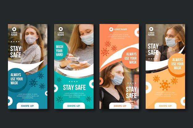 Collection d'histoires instagram de coronavirus plat