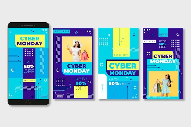Collection d'histoires instagram cyber lundi