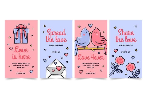 Collection d'histoires instagram dessinées à la main
