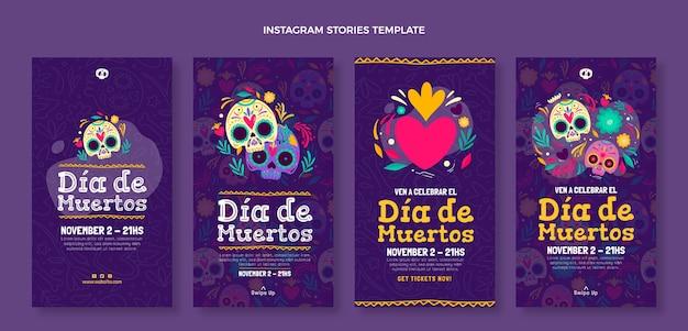 Collection d'histoires instagram dia de muertos dessinées à la main