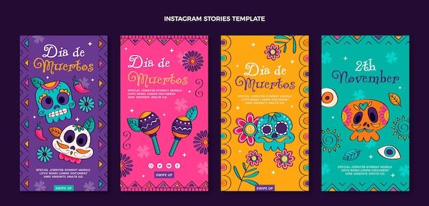 Collection d'histoires instagram dia de muertos plat dessiné à la main