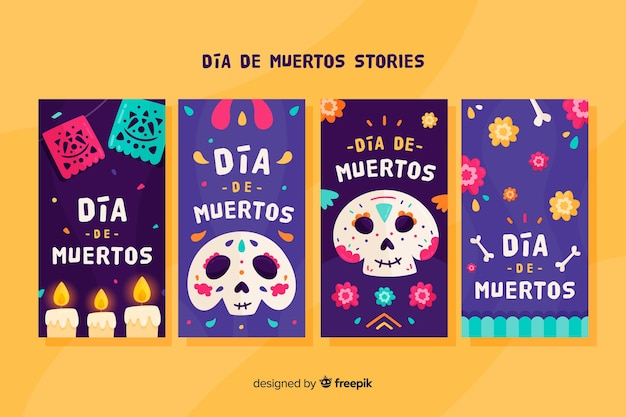 Collection d'histoires instagram dia de muertos
