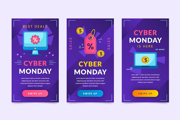 Collection d'histoires instagram du cyber lundi à plat