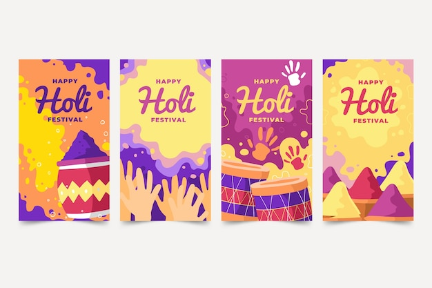 Collection d'histoires instagram du festival des médias sociaux holi