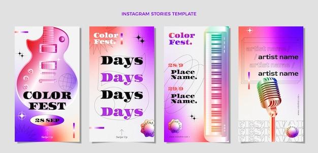 Collection d'histoires instagram du festival de musique coloré dégradé