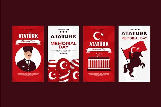 Collection d'histoires instagram du jour commémoratif d'ataturk dessinés à la main