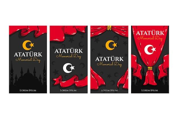 Collection d'histoires instagram du jour commémoratif ataturk dessinés à la main