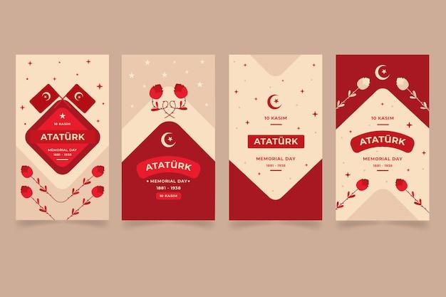 Collection d'histoires instagram du jour commémoratif d'ataturk plat