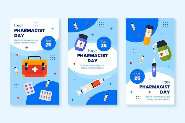 Collection d'histoires instagram du jour du pharmacien plat