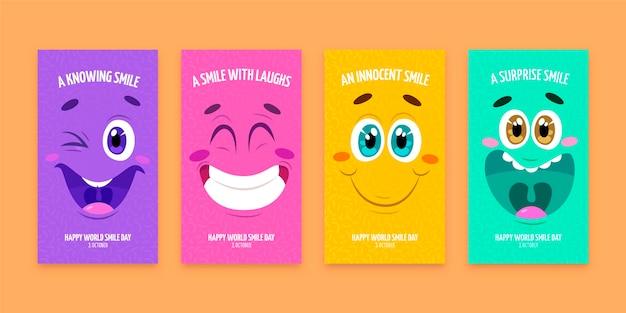 Collection d'histoires instagram du jour du sourire dessinés à la main