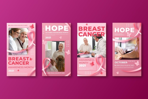 Collection d'histoires instagram du mois de sensibilisation au cancer du sein dégradé avec photo
