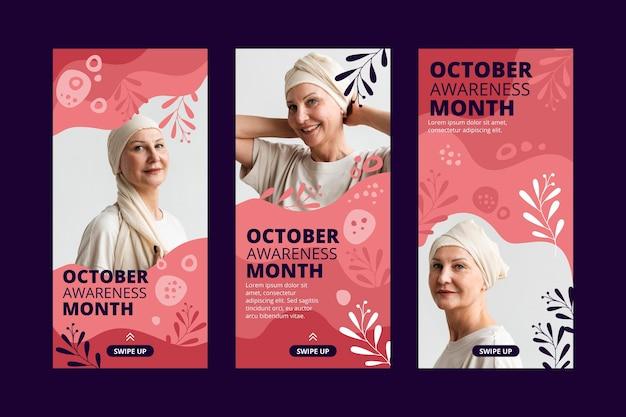 Collection d'histoires instagram du mois de sensibilisation au cancer du sein dessinée à la main avec photo
