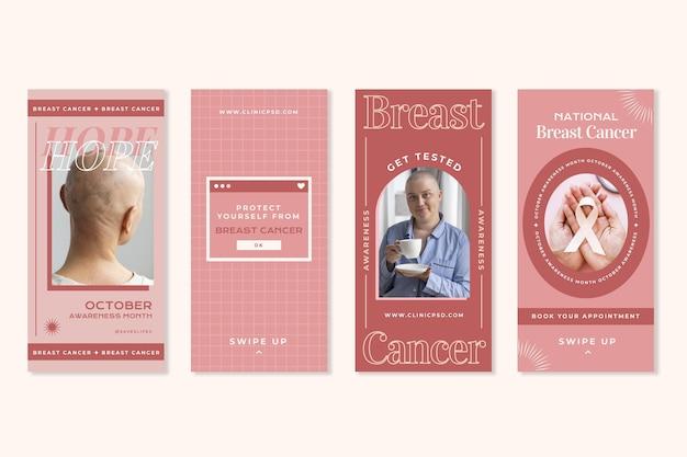 Collection d'histoires instagram du mois de sensibilisation au cancer du sein plat avec photo
