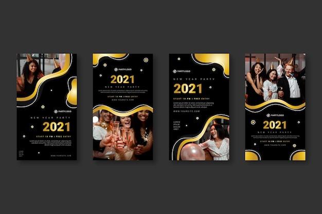 Collection d'histoires instagram du nouvel an 2021
