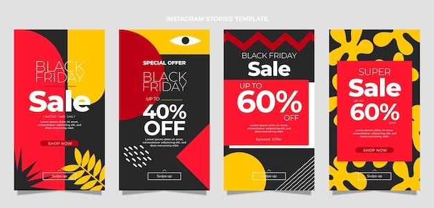 Collection d'histoires instagram du vendredi noir plat dessiné à la main