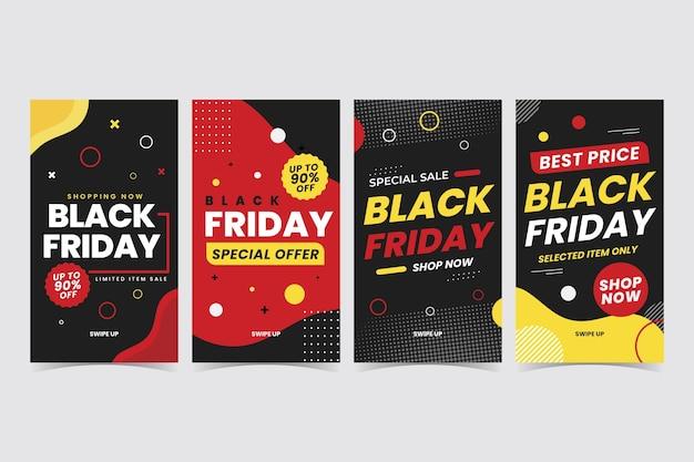 Collection d'histoires instagram du vendredi noir plat