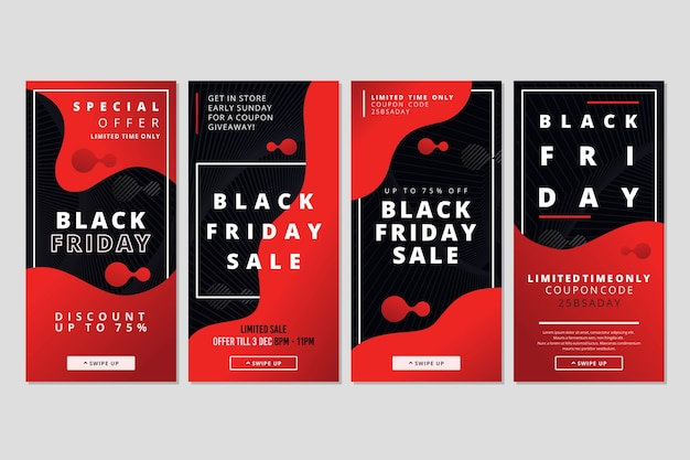 Collection d'histoires instagram du vendredi noir