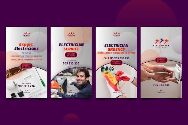 Collection d'histoires instagram d'électricien