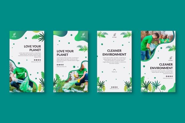 Collection d'histoires instagram d'environnement