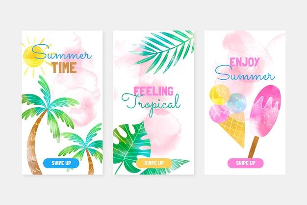 Collection d'histoires instagram d'été aquarelle peinte à la main
