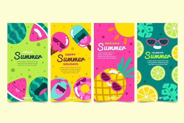 Collection d'histoires instagram d'été de dessin animé