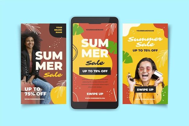 Collection d'histoires instagram d'été dessinées à la main