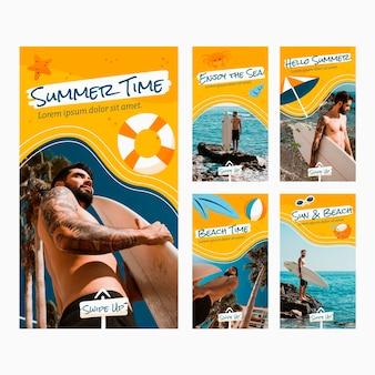 Collection d'histoires instagram d'été dessinés à la main avec photo