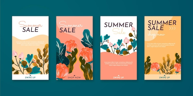 Collection d'histoires instagram d'été avec des fleurs dessinées à la main