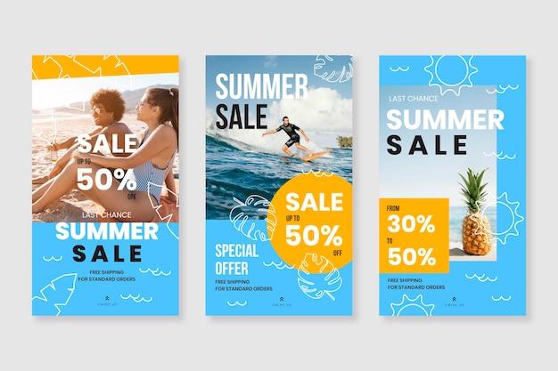 Collection d'histoires instagram d'été plat avec photo
