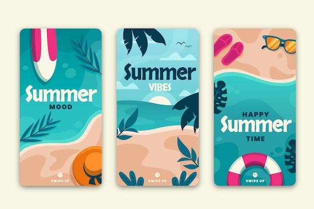 Collection d'histoires instagram d'été plat