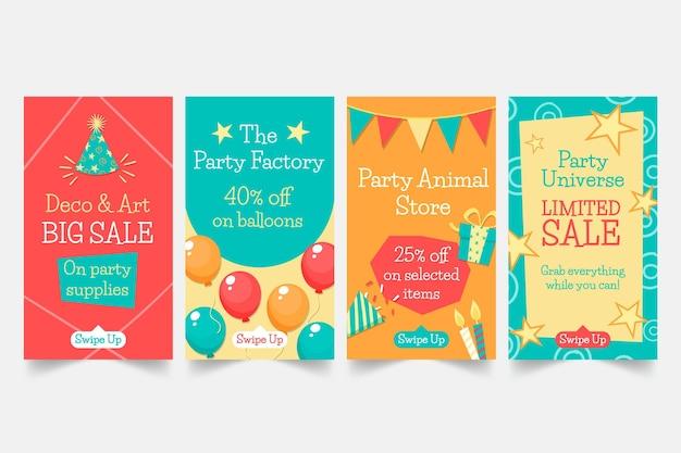 Collection d'histoires instagram fête d'anniversaire