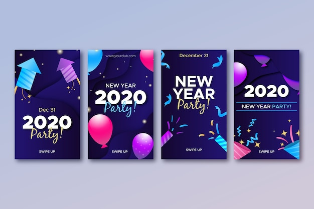 Collection d'histoires d'instagram de fête du nouvel an 2020
