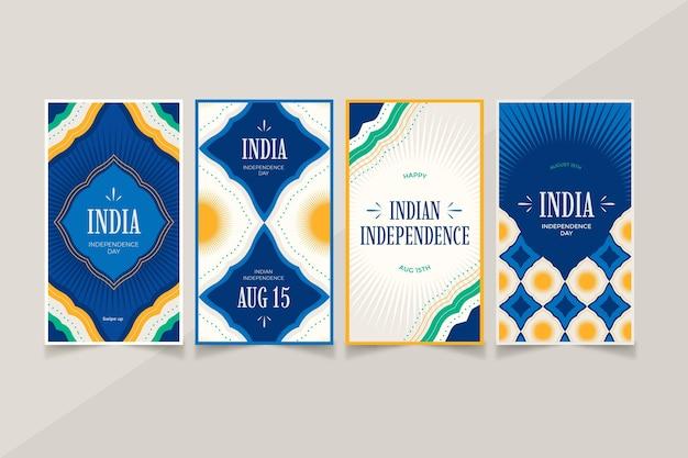 Collection d'histoires instagram de la fête de l'indépendance de l'inde