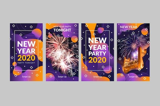 Collection d'histoires d'instagram de fête de nouvelle année