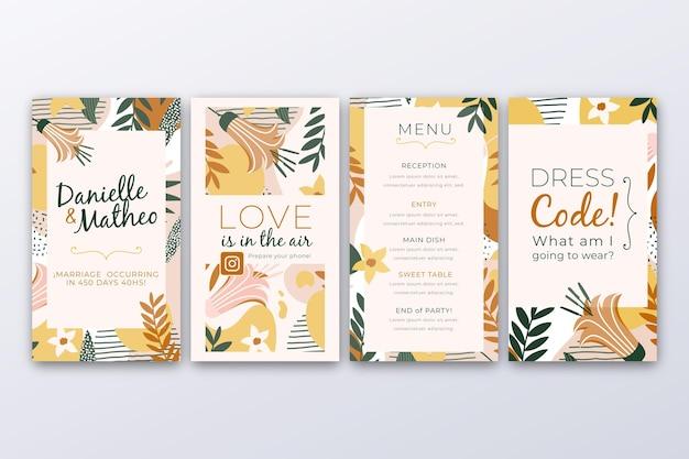 Collection d'histoires instagram avec des feuilles pour le mariage