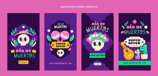 Collection d'histoires instagram flat dia de muertos