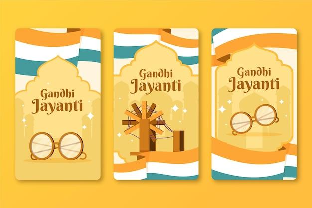 Collection d'histoires instagram de gandhi jayanti plat dessiné à la main