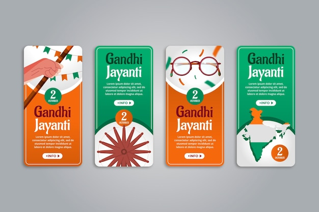 Collection d'histoires instagram de gandhi jayanti plat