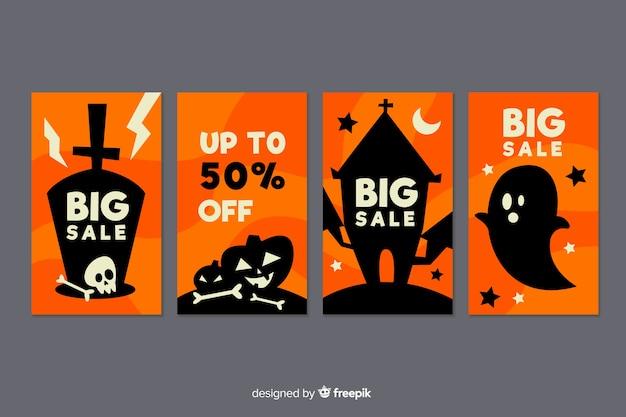 Collection d'histoires instagram de grandes ventes halloween