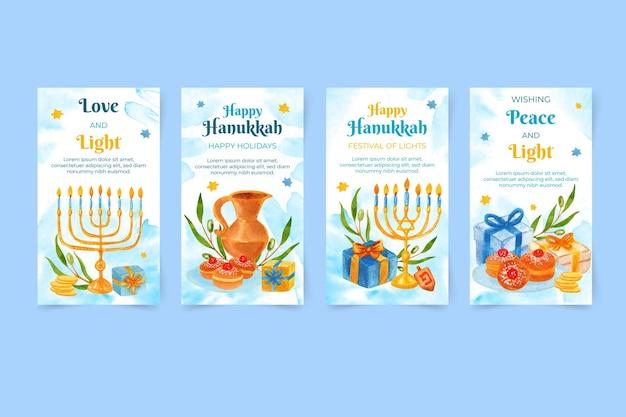 Collection d'histoires instagram de hanoucca à l'aquarelle