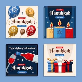 Collection d'histoires instagram de hanukkah plates dessinées à la main